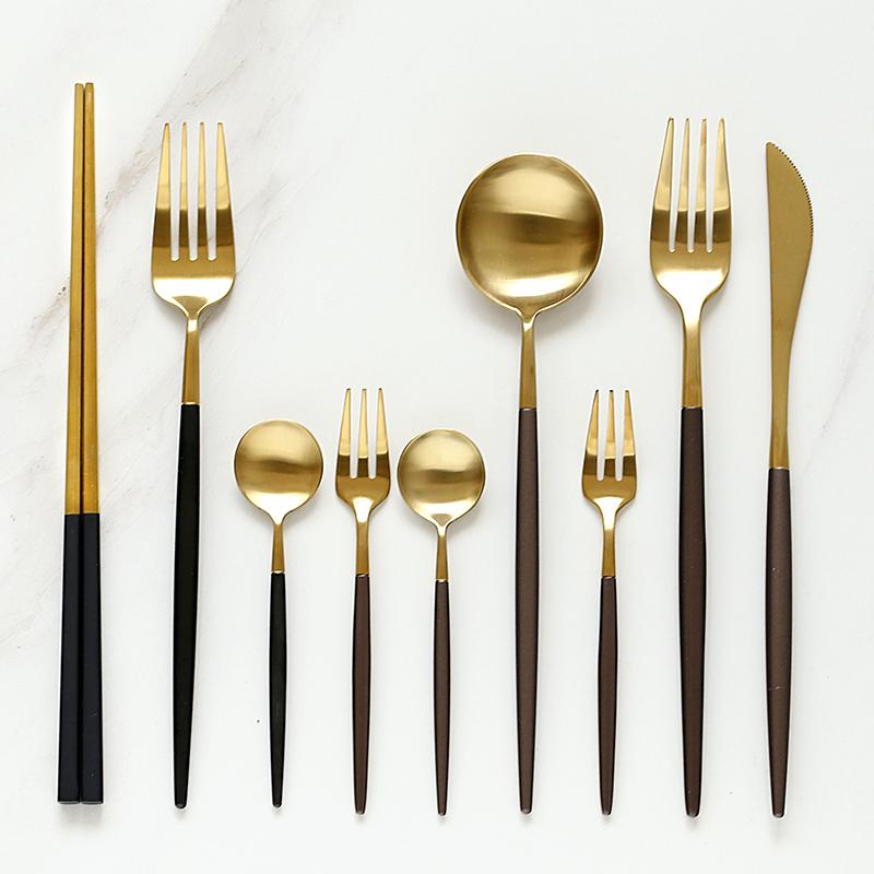 Matt Gold Plated Cutlery Set For Wedding Event Manufacturer
