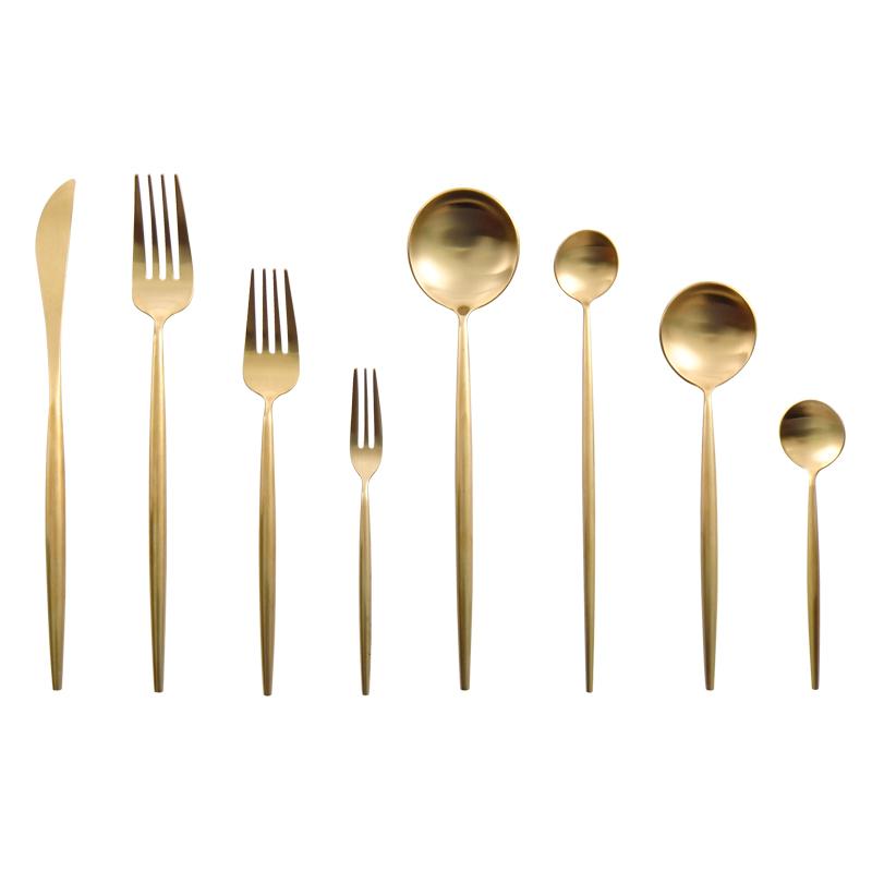 Matte Gold Cutlery Set For Wedding